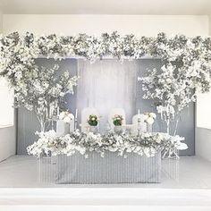 New Ideas For Wedding Table Luxury Flower Wedding Stage Design, Diy Wedding Reception, Wedding Designs, Wedding Table, Wedding Styles, Trendy Wedding, Floral Wedding, Wedding Colors, Wedding Flowers