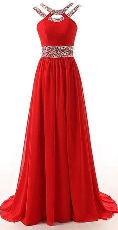 Long A-Line Red Split Beaded Chiffon Evening Winter Formal Prom Dress,open back…
