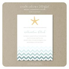 How cute is this with the chevron!! LOVE! ombre chevron starfish  bridal shower invitation by OliveandStar, $16.75