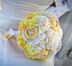 Yellow Fabric Flower Bouquet, Ombre Bouquet, Fabric Bridal Bouquet, Weddings. $175.00, via Etsy.