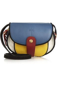 Jérôme Dreyfuss Momo textured-leather and canvas shoulder bag | NET-A-PORTER