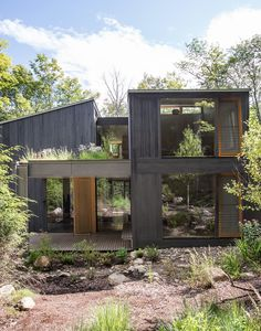 Wood from the property's felled trees was incorporated into every room in the 3,000-square-foot house.