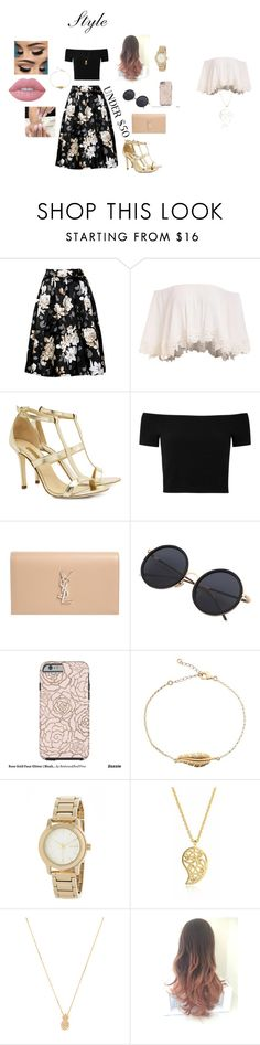 """skirtunder50"" by mari-eleftheriadou on Polyvore featuring Dee Keller, Alice + Olivia, Yves Saint Laurent, DKNY, Sonal Bhaskaran, Wanderlust + Co, Lime Crime, under50 and skirtunder50"