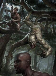Interior illustration from Vampires: A Hunter Guide, by Osprey Publishing. An African Vampire Hunter is about to pounce on his prey, an Asanbosam before it makes a meal out of it's next victim. Copyright of Osprey Publishing Dark Fantasy Art, Fantasy Artwork, Dark Art, Fantasy Story, Fantasy Creatures, Mythical Creatures, Beast Creature, Ange Demon, Fantasy Beasts