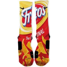 We custom design and print all of our Fritos Original Custom Nike Elite Socks Custom Nike Elite Socks. We print all orders on demand and no two pairs are identical. Nike Basketball Socks, Basketball Shorts Girls, Nike Elite Socks, Nike Socks, Crazy Socks, Cool Socks, Iphone 5c, Tights, Amigurumi