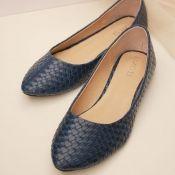 $11.49 Fashion Round Closed Toe Blue PU Flats