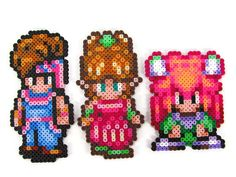 Secret of Mana Characters - Randi, Sprite, Purim - Perler Bead Sprite Collectibles