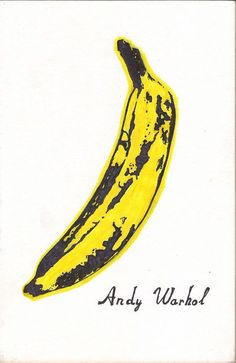 Andy Warhol's 'Banana'. This banana became one of the most recognised pieces of Pop Art. This banana was made to be the cover for the debut album of the band 'The Velvet Underground', whom Warhol became the manager of in Andy Warhol Pop Art, Andy Warhol Bilder, Andy Warhol Prints, Warhol Paintings, Art Paintings, Painting Art, The Velvet Underground, Art Marilyn Monroe, Andy Warhol Marilyn