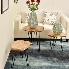 Charlton Home Cedar Wood End Table Diy End Tables, Wood End Tables, Small Tables, Sofa Tables, Porch Furniture, Living Room Furniture, Cedar Furniture, Coffee Table Base, Coffee Tables