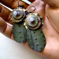 mixed media assemblage earrings with raku by AnvilArtifacts
