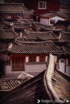 Rooftops of the Bukchon hanok houses in Seoul, South Korea