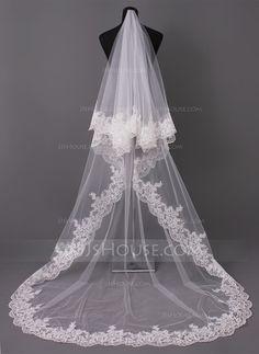 Uno capa Velos de novia catedral con Con Aplicación de encaje (006005417) - JJsHouse
