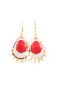Bia Earring in Coral