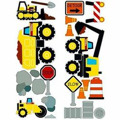 Tonka Truck 22 Removable Wall Decals Construction Site Room Decor Stickers Boys | eBay