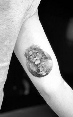 Mommy Tattoos, Lion Head Tattoos, Leo Tattoos, Skull Tattoos, Couple Tattoos, Animal Tattoos, Body Art Tattoos, Tattoos For Guys, Sleeve Tattoos