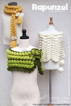 Lucru de mana crosetat,margelit: Model tricotat deosebit Rapunzel.