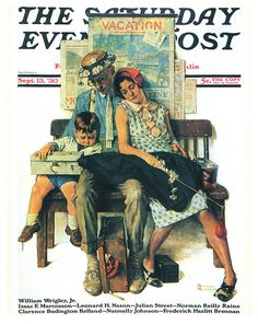 1930-Family Home from Vacation, Post cover---by Norman Rockwell