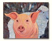 SALE Contemporary Pig & Sheep painting 16x20 original fine art oil on canvas to benefit Farm Sanctuary large format art nursery decor