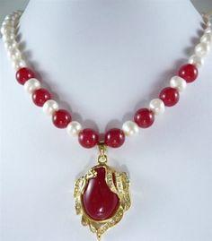 El Regalo Para Mamá! elegante 7-8mm Blancas Akoya Perlas Cultivadas Color Rojo Collar De Jade T in Joyería y relojes, Joyas de moda, Collares y dijes | eBay