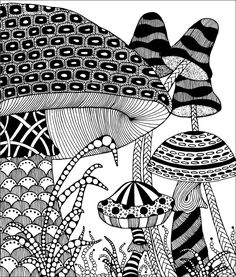Shroom Tangles by Penny Raile, Certified Zentangle Teacher. she has author books and calendars on Zentangle.