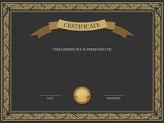 Black and Brown Certificate Template PNG Image