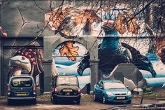 Winter fragment of Four Seasons mural by Smug