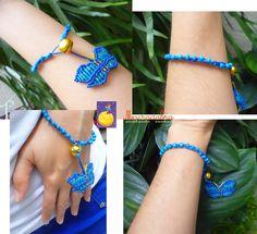 Macradabra: Pulsera con mariposa azul en #macramé