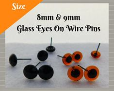 6mm Brown Horse Glass Eyes On Wire Pin Posts for Needle Felting Doll Sculpture Making Supplies and Other Crafting