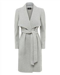 Belted Wrap Coat,Grey,original