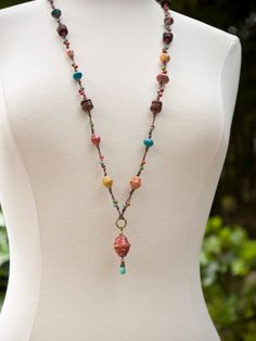 African Trade Bead Necklace by Distlefunk2 on Etsy