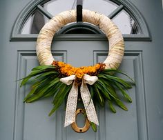 SALE Spring Green and Yellow Yarn Wreath with Dried by AmyLaRoux, $33.00