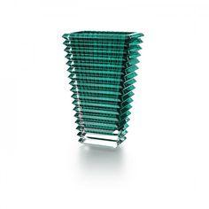 Eye Rectangular Small Crystal Vase, Dark Green