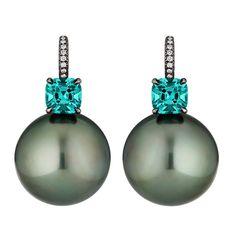 STEVEN FOX Green Tourmaline Pearl Diamond Earrings | From a unique collection of vintage drop earrings at http://www.1stdibs.com/jewelry/earrings/drop-earrings/
