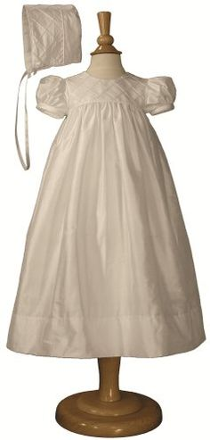 Silk Dupioni Christening Gown with Diamond tucks