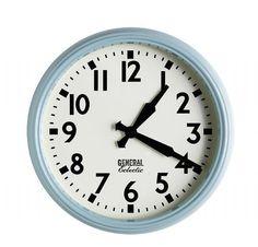 Retro Style School Clock - Vintage Blue