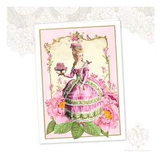 Marie Antoinette Greeting Card Pink Roses Birthday by mulberrymuse,