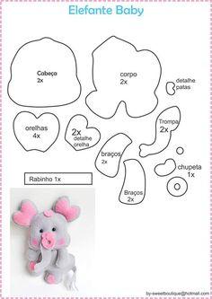 Lindo elefantinho baby com moldes, créditos na imagem...