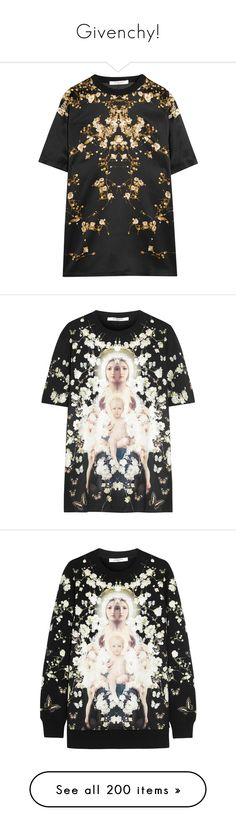 """""""Givenchy!"""" by blueladybird ❤ liked on Polyvore featuring tops, t-shirts, dresses, shirts, black, flower shirt, givenchy t shirt, flower t shirt, flower print shirt and floral print t shirt"""