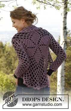 "Crochet DROPS jacket worked in a circle in ""Andes"". Size: XS - XXXL - just begging to be made."