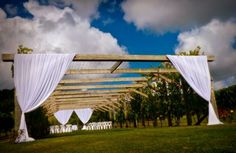 Beautiful draping on our wedding arbour at Ascension Wine Estate