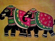 Two Royal Elephants Original Acrylic on Paper by Muktangan on Etsy, $50.00