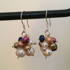 Earrings - Sterling Silver 925 with pearls from Zimbabwe- ONE OF A KIND