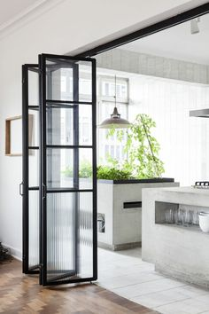 Folding doors design in 44 photos! jolie porte accordeon interieur vers la cuisine moderne p beautiful interior accordion door to the modern kitchen Folding doors design in 44 photos beautiful interior accordion door to the modern kitchen p House Design, Door Design, Home, Interior Wall Design, Sliding Doors Interior, Doors Interior, Glass Wall Design, Interior Design Styles, Home Interior Design