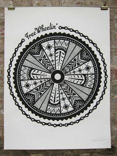 Free Wheelin' Bike Poster by katiekempdesign on Etsy, $25.00