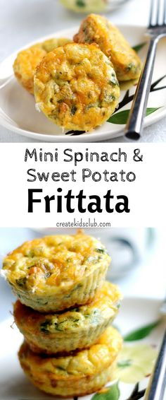 Healthy Egg Frittata Muffins - the perfect make ahead breakfast. Easy, veggie packed baked egg muffins are vegetarian.  Made with potatoes and spinach, these mini frittatas are simple and freeze well.  A make ahead breakfast idea for kids.  via @http://www.pinterest.com/createkidsclub