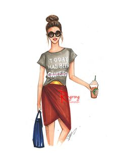 Fashionista fashion sketch by Rongrong DeVoe. Great piece for the wall! This is her personal favorite fashion illustration from the Etsy shop.