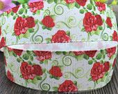 1'' - 25mm Floral Red Rose Grosgrain Ribbon