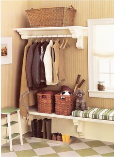 Hanging rail for entry way. Clothes may hang out too far. Big baskets for kids junk