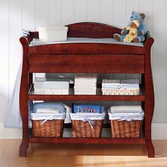 Sleigh Style Cherry Changing Table By Badger Basket | Babies And Pregnancy