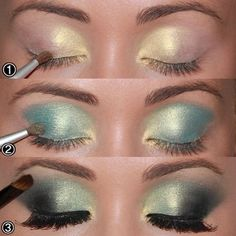 Love the colors! Mary Kay cream eye color Beach Blonde, Emerald mineral eye color and Coal or Espresso.